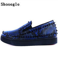 SHOOEGLE New Rivets Printing Snakeskin Men Loafers Breathable Slip On Spikes Mens Flat Shoes Fashion Handmade Man Casual
