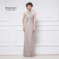 Real Photos Evening Dress Long Crystal Handmade Beaded Straight Halter Jersey Formal Occsian OL103048