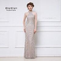 Real Photos Evening Dress Long Crystal Handmade Beaded Straight Halter Jersey Formal Occsian OL103048