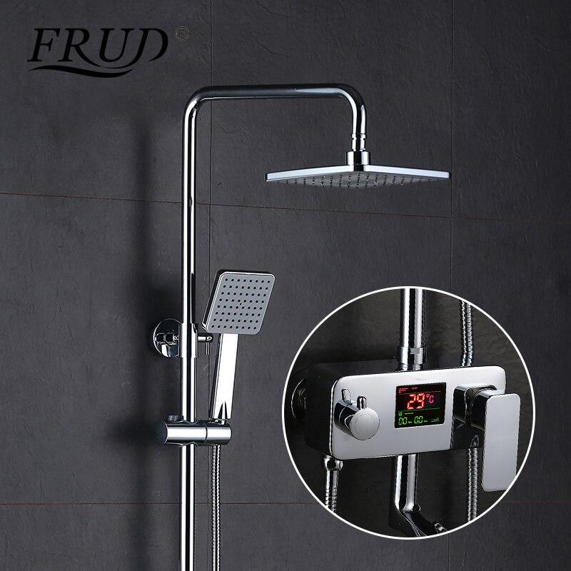 FRUD New Digital Display Shower Faucet Water Powered Digital Display Shower Set Rain Shower Head Tub Mixer Faucet Y24012