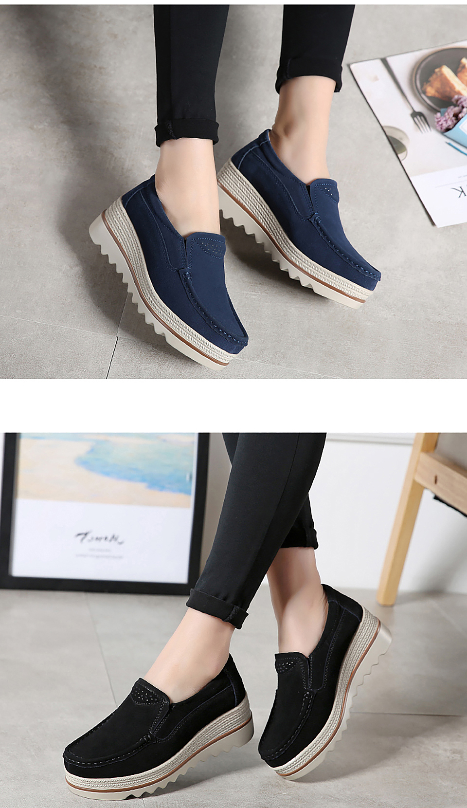 HTB1tydGOjDpK1RjSZFrq6y78VXab 2019 Spring Women Flats Shoes Platform Sneakers Slip On Flats Leather Suede Ladies Loafers Moccasins Casual Shoes Women Creepers