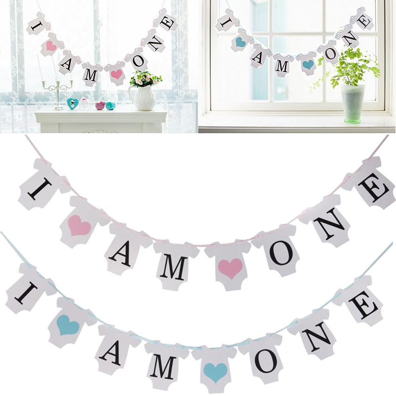 I AM ONE Birthday Bunting Banners Kit Baby Shower 1st Birthday Hanging Flag  Blue Party Decoration