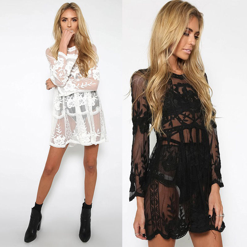Detail Feedback Questions about New Women Beach Dress Lace Lace Beach Mini  Dresses White Black Long Sleeve Summer Costume on Aliexpress.com  c273e405dca5