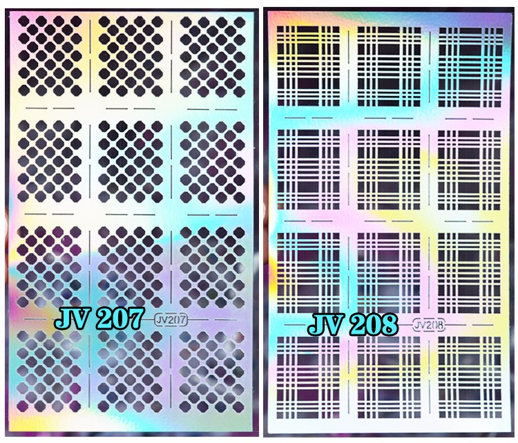 1sheet Silver Hollow Nail Art Template Stencil Stickers Fish Scale Vinyls Image Polish Design Guide Manicure Tools 6