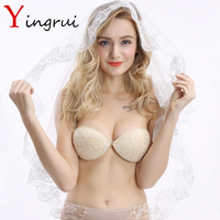 Women Self Adhesive Strapless Bra Silicone Push Up Invisible Bra Lace Wedding Dress Bridal Chest Paste