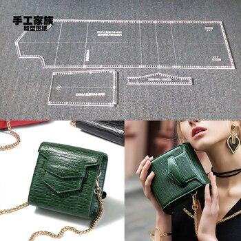 b7ae70b6 Plantilla de plantilla acrílica de corte láser DIY cuero artesanal bolso de  mano para mujer bolso de hombro patrón de costura 13x13x7 cm