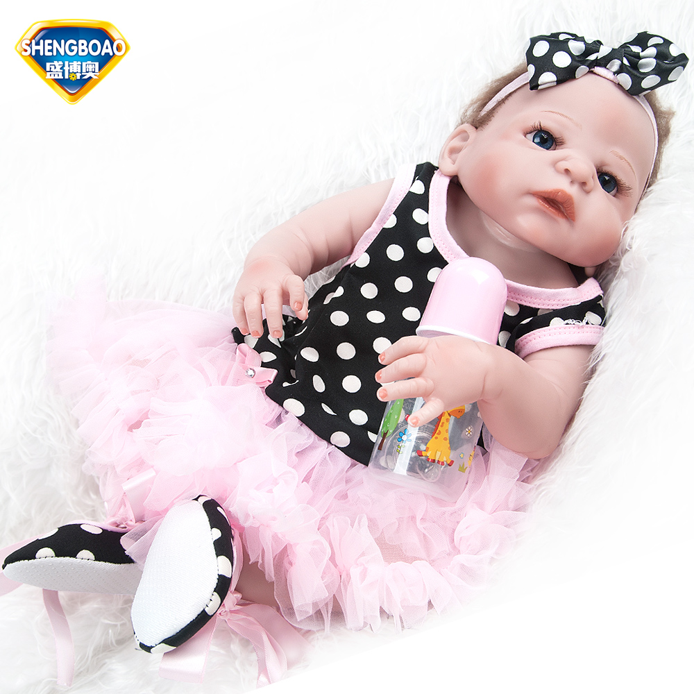 SHENGBOAO Full Silicone Reborn Baby Dolls 22inch Realistic Soft Reborn Doll Girl Lifelike Babies Fashion Doll Toys for Children hot sale realistic baby dolls reborn girl 16 lifelike soft silicone babies reborn baby doll toys for children christmas gift