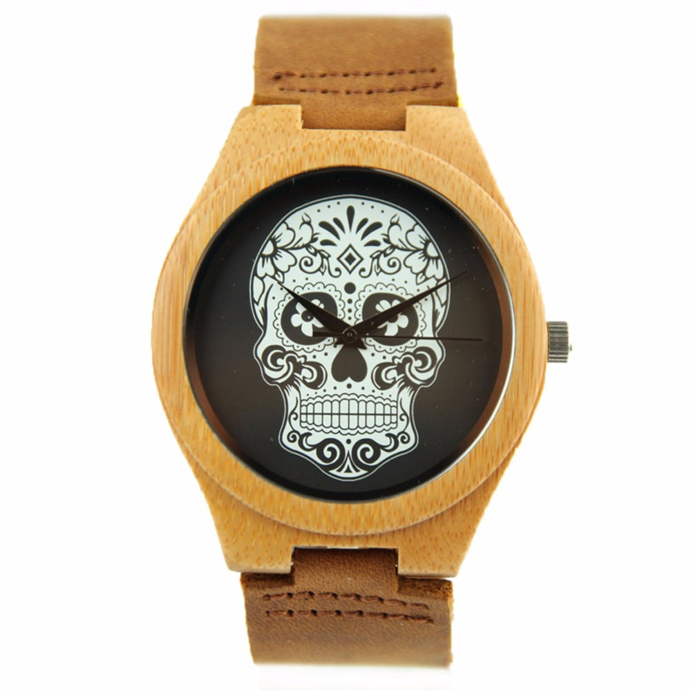 ФОТО 2016 Fashion Skull Wooden Watches With Genuine Cowhide Leather Band Luxury Wood Clock For Men Best Gifts Ltem