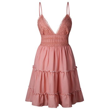 AiiaBestProducts - Fashion Women Lace Dress Sexy Backless V-neck Beach 3