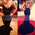 Vestido Longo 2016 Sexy See Through Top with Beading Appliques Black Long Mermaid Prom Dresses Formal Evening Party Dress Cheap