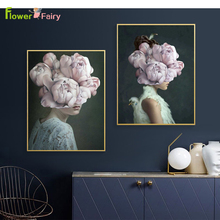 Abstract Peony Flowers Girl Wall Art Canvas Painting Feather Nordic Poster Bird Modern Pictures For Living Room Unframed