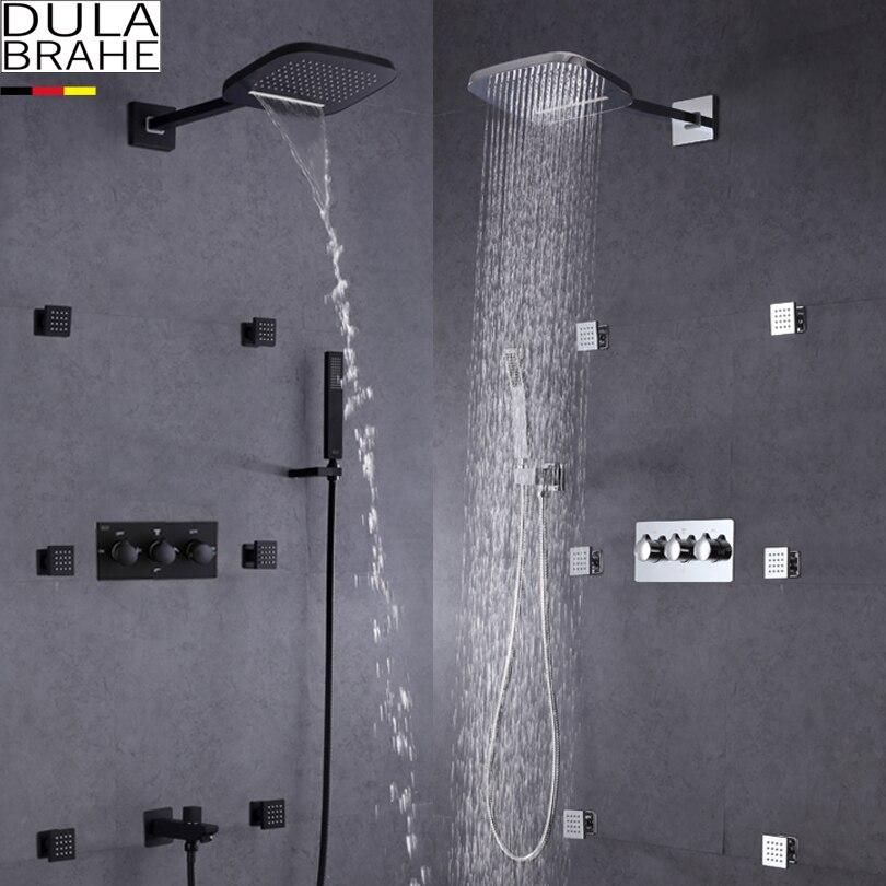 Shower Equipment Dulabrahe Waterfall Bathroom Shower Mixer Faucet Set Wall Mounted Rain Bath Shower Head Tap Black Silver Shower Faucets