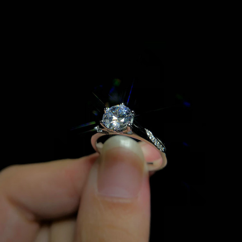 3ct Carat AAAAA High Quality NSCD CZ Wedding Rings for Women White Gold Color S925 Sterling Sliver Rings Can Be Letter Free in Rings from Jewelry Accessories