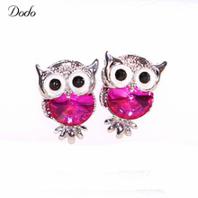 Colorful Crystal Women Girls Charms Owl 585 Stud Earrings Cute Jewelry Vintage Personality White Gold Plated