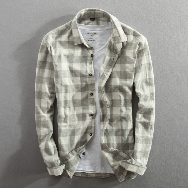 Classic Plaid Cotton Long Sleeve Slim Fit Shirt