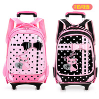 New Beautiful children pull rod bags wheeled school backpack kids bookbag travel luggage suitcase with wheels pink for girl gift