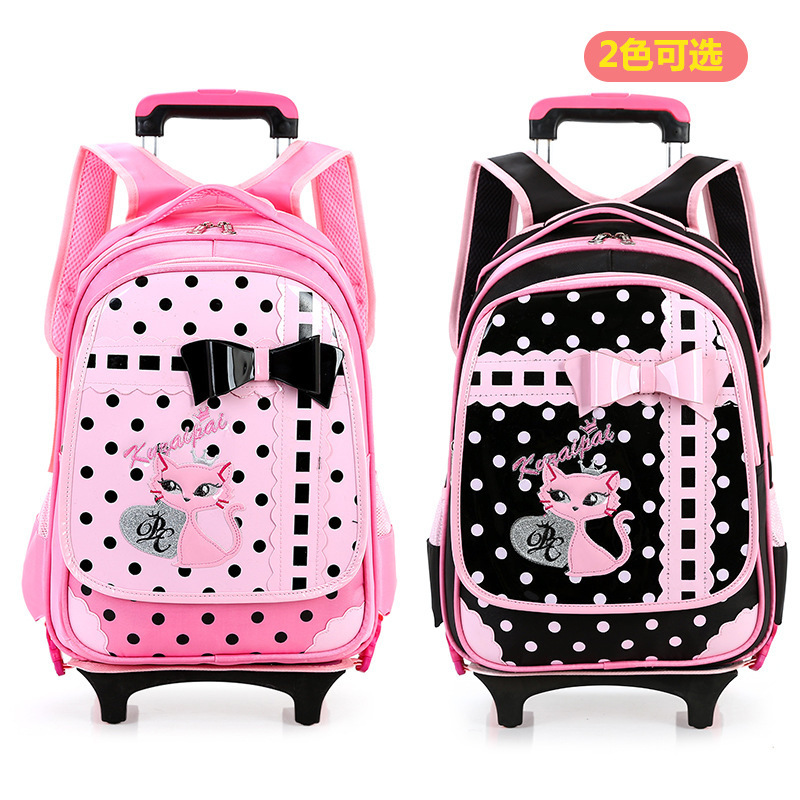 New Beautiful children pull rod bags wheeled school font b backpack b font font b kids