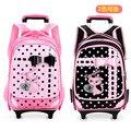 Nueva Hermosa niños tiran bolsas de varilla ruedas mochila escolar niños bookbag bolsa de viaje equipaje maleta con ruedas de color rosa para la muchacha regalo