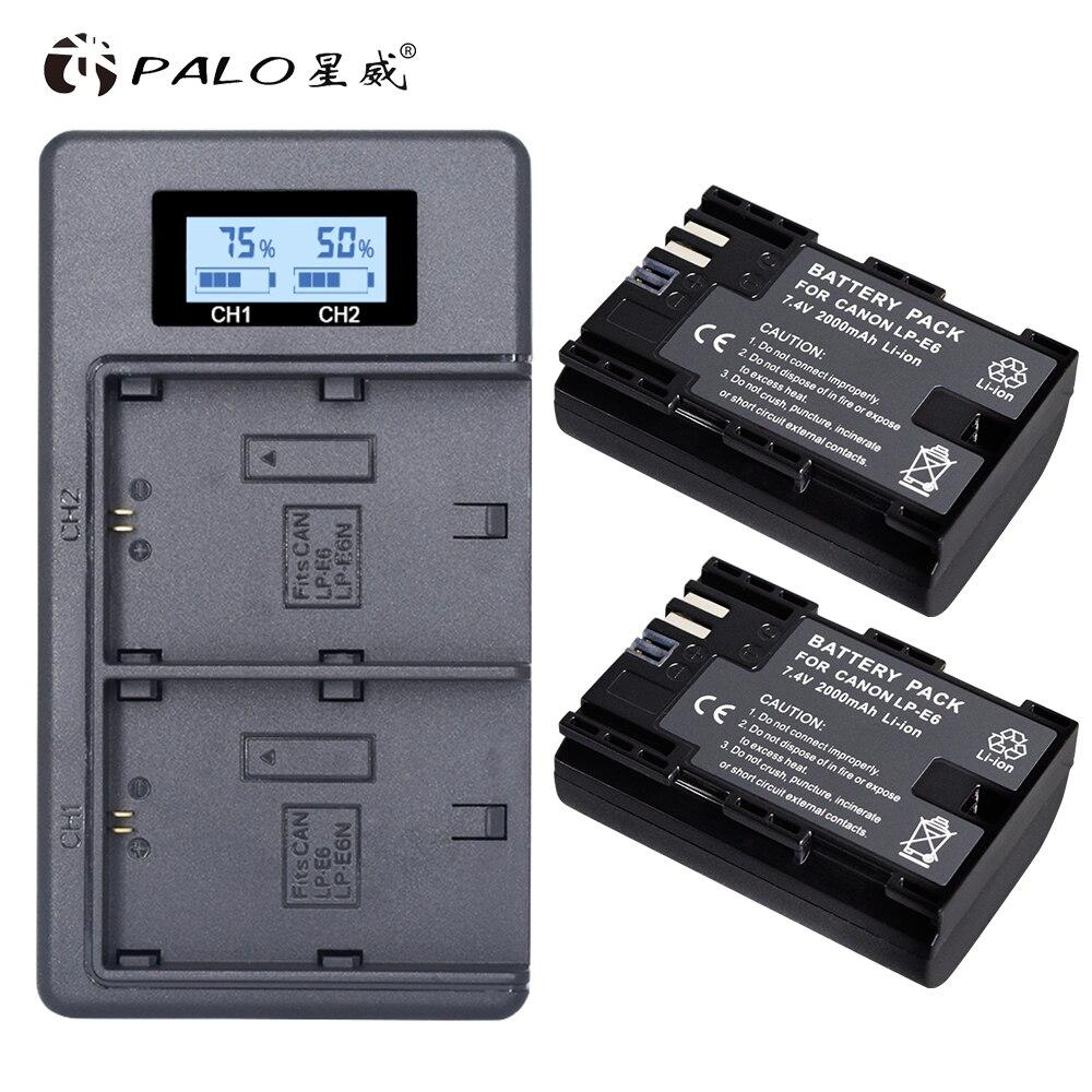 PALO 2 pc LP-E6 LP-E6N LP E6 Batterie Zelle + LCD USB Dual Ladegerät für Canon EOS 6D 7D 5D mark II III IV 5D 60D 60Da 70D 80D 5DS 5DSR