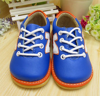 Hand Made Navy Blue Baby Boy Sneaker Shoes Squeaky Outsole Shoes Spring Autumn Nonslip Toddler Shoes