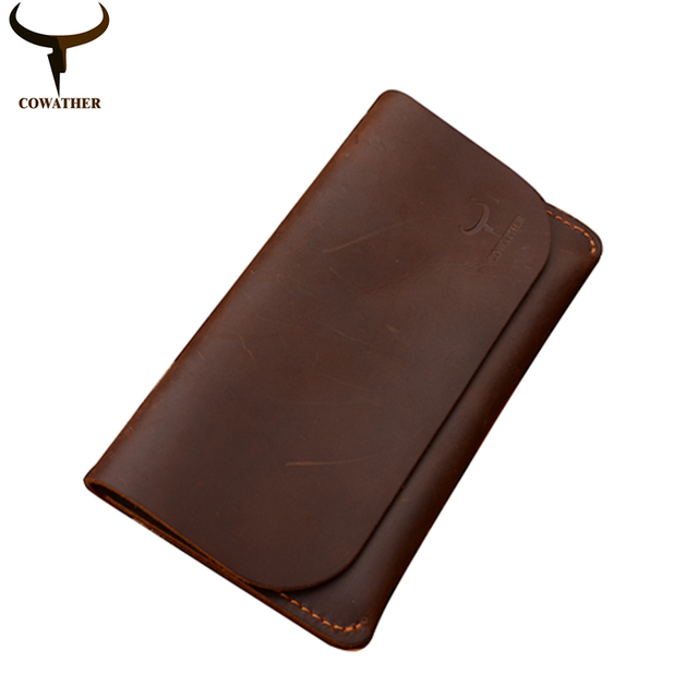 COWATHER 2016 high grade cow genuine Crazy horse leather men wallets long black or coffee fashion male purse 104 free shipping