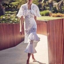 Gosexy Новое Очаровательное летнее обтягивающее платье с рюшами на бретельках, тонкое кружевное платье с кристаллами и пуговицами, женское элегантное стильное платье миди