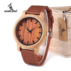 Image 1 - בובו ציפור WD10 Mens יוקרה למעלה מותג עיצוב שעון גברים עץ שעוני יד מעצב שעונים יוקרה במבוק שעון אריזת מתנה מקבלים Oem