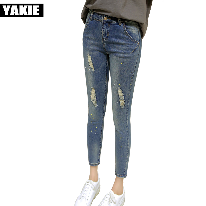 YAKIE denim hollow out jeans female Vintage black skinny ripped jeans pants Women causal summer 2017 jeans capris Plus size