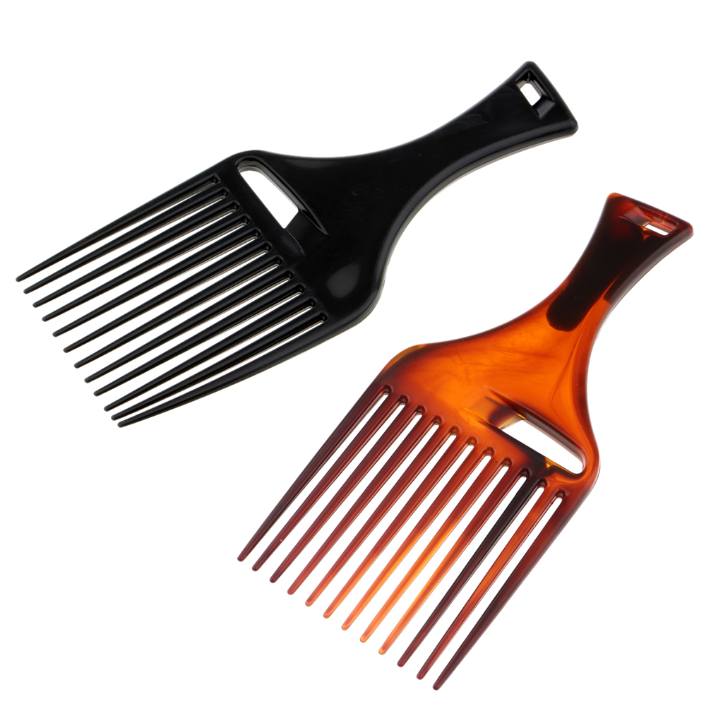 2 Packs Black+Brown Anti-Static Heat Resistant Afro Hair Pick Comb Wide Teeth Detangling Salon Styling Lifting Combs