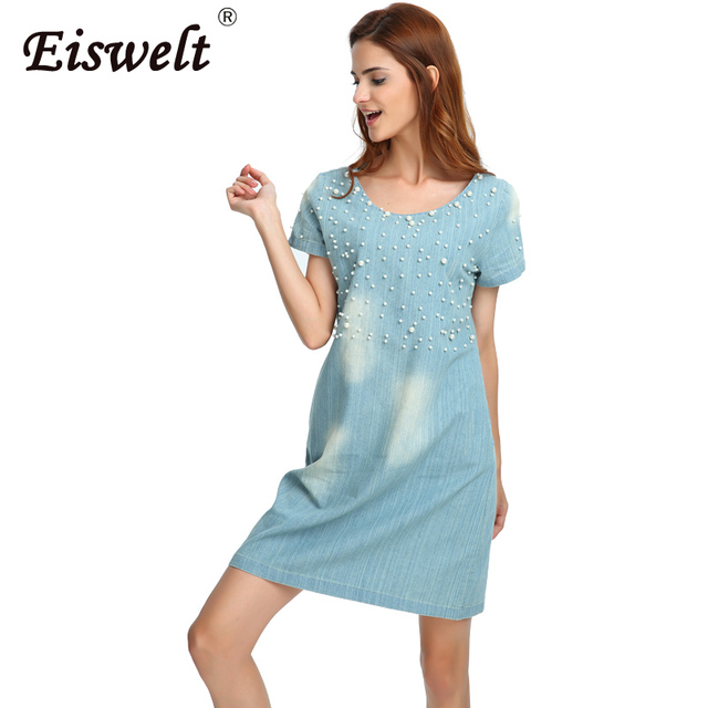 EISWELT Plus Size 5XL Dress Women Jeans Sundress Women s Casual Denim Dress  Vestido Summer Style Beaded Party Tunic Dresses 9e3d9e30d1
