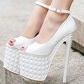 ГОРЯЧАЯ 2016 Sexy Women Peep Toe Насосы Моды 19 см Высокие Каблуки Свадьба Обувь Женщины Seasons Обувь 2 Цвет
