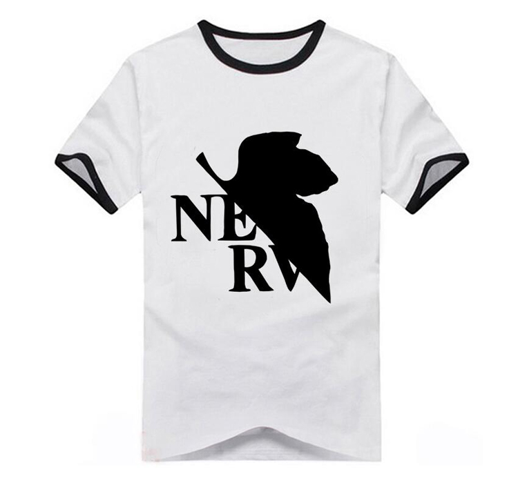 8Colors EVA Neon Genesis Evangelion NERV Logo Printed T-shirt Cosplay Costume Short Sleeve Cotton Tee Shirt Daily Casual Tops