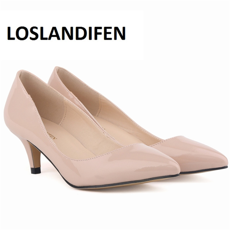 LOSLANDIFEN Classic Women Pumps Sexy Pointed Low Med Kitten Heels Pumps Shoes Wedding Shoes Dress Pumps Big Size 35-42 678-1