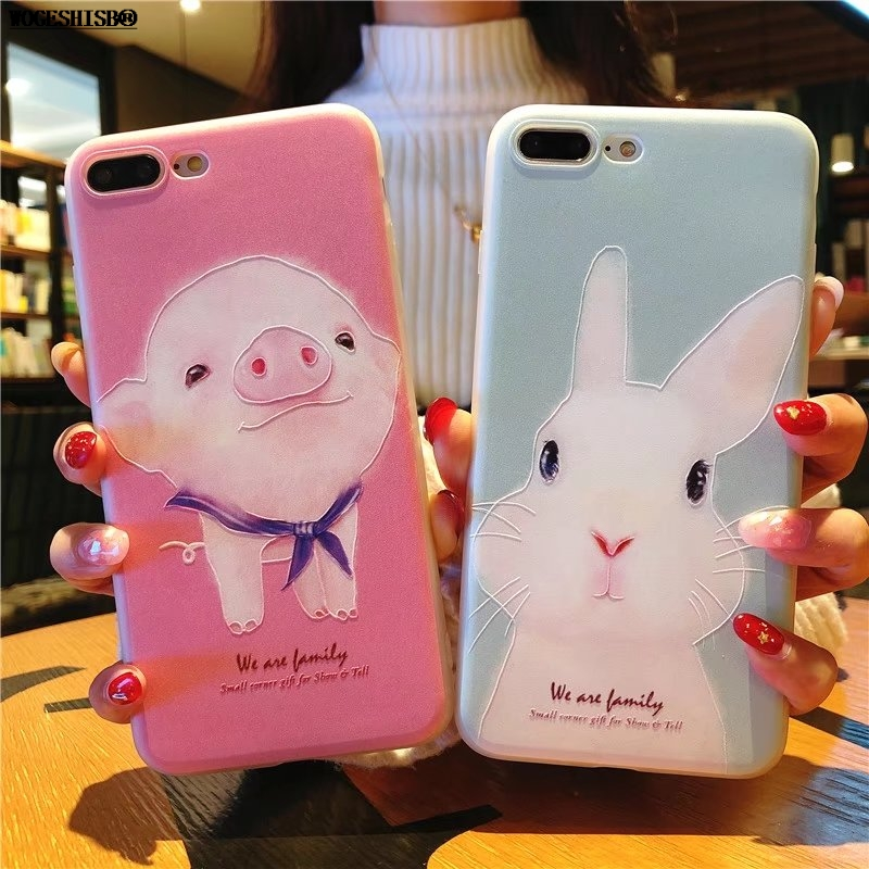 Relief TPU Case for iPhone X Cases Rose Pig Rabbit Bunny Soft Silicone Case for iPhone 5S SE 5 6 6S 7 8 Plus Ultrathin Cover