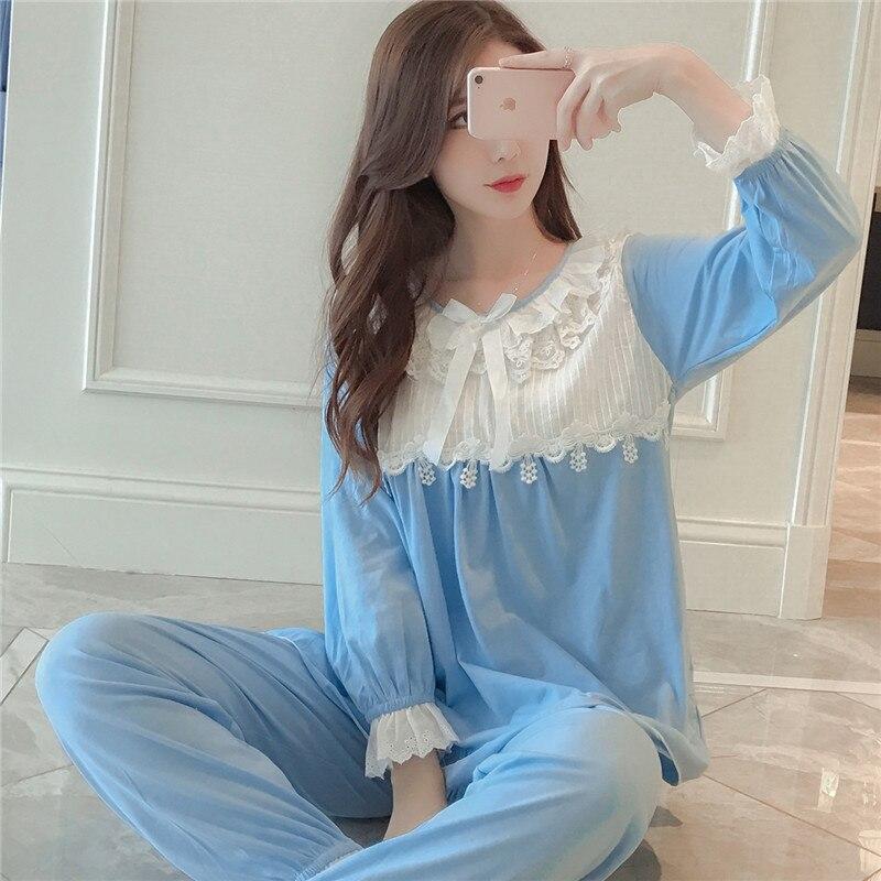 Pijamas Women Nightwear Suit Autumn Sweet Cute Long Sleeve Princess Lace Pajamas Home Wear Cute Pajamas