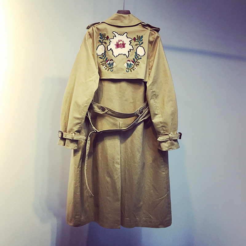 Outerwear Spring Embroidery Trench Loose Autumn Medium-Long Women's Casual Thin And 0324