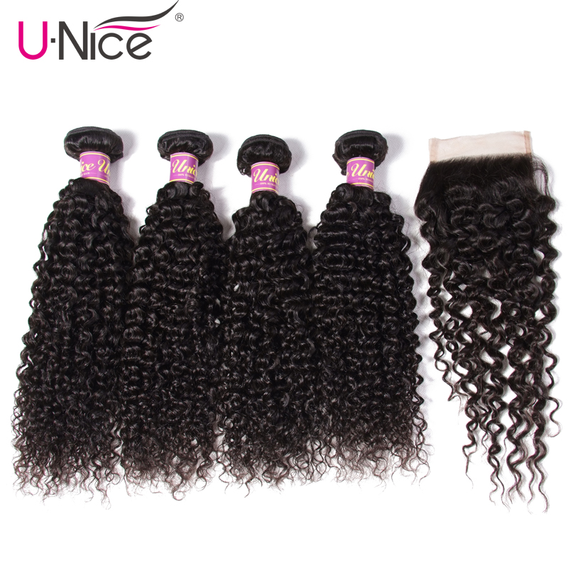 UNICE HAIR 5PCS Brazilian Curly Weave Human Hair Bundles with Closure 100 Remy Hair Weaves 4