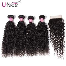 UNICE HAIR 5PCS Brazilian Curly Weave Human Hair Bundles wit