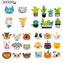 Nicediy Iron On Transfer For Clothes Stripe Heat Vinyl Patch Applique Baby Cartoon Animals Thermal Print Stickers