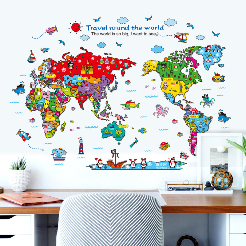 Creative Removable Large World Map Wall Stickers Original Creative