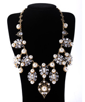 Statement Necklace For Women 2015 Gold Plated Elegant Rhinestone Glass Faux Pearl Collar Necklace