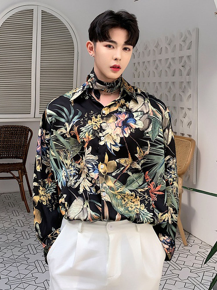 Men Casual Long Sleeve Flower Shirt Male Fashion Male Harajuku Vintage Tie Bow Dress Shirts Stage Nightclub Party Clothing