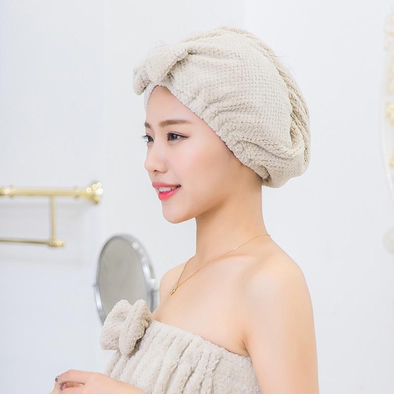 Hair Dry Cap Head Wrap Hat Salon Towel Bowknot Women Bathroom Cotton Bath Towel