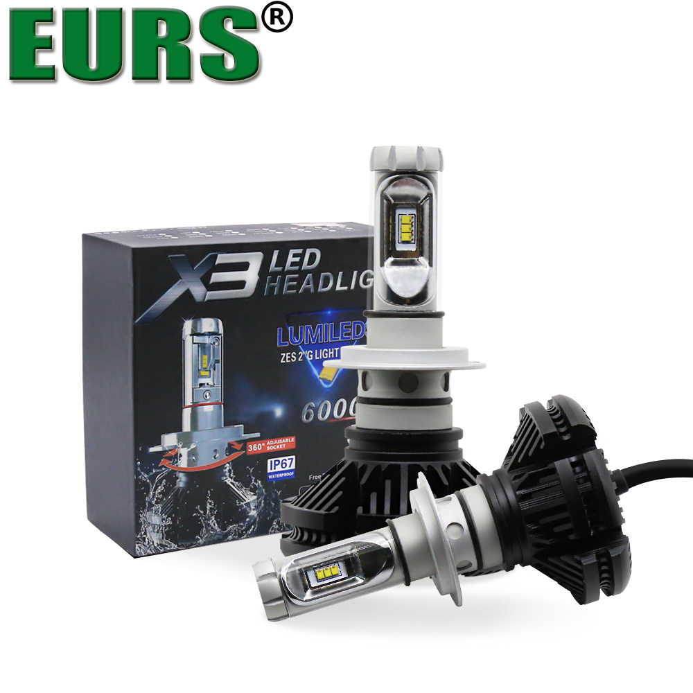 EURS(TM) Super Bright X3 Car Headlight H4 Led H7 bulbs 9004 9005 HB3 Hi/lo Beam ZES Auto lamps lMotorcycle headlamp 12000lm 50W