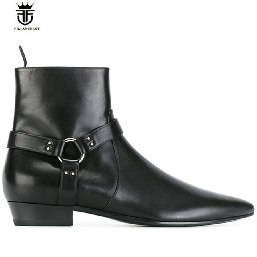 df289aed49e High End Handmade Pointed Toed black genuine leather Slim designed wedge  ankle strap men wedding catwalk fashion boots