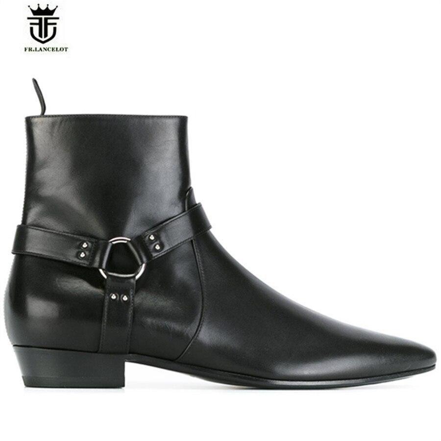 High End Handmade Pointed Toed black genuine leather Slim designed wedge ankle strap men wedding catwalk fashion boots