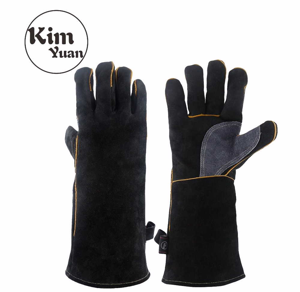 KIMYUAN 016/017L Welding Gloves Heat Resistant Perfect For Cooking/Baking/Fireplace/Animal Handling/BBQ -Black-Gray 14/16inches