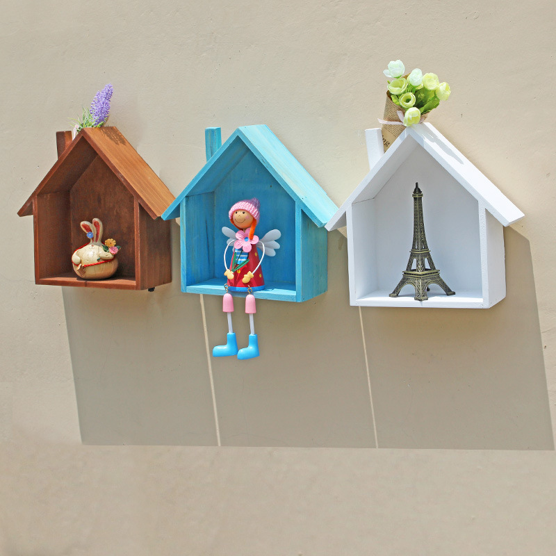 Home Wall Decor Hanging Wooden Storage Box Household Cosmetics ...