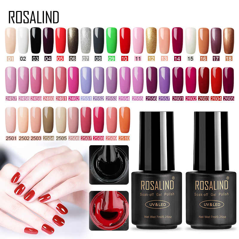 ROSALIND Nail Polish Set Gel Varnish hybrid Nail Art Vernis Semi Permanent UV LED Top All For Manicure Base Coat Gel Nail Polish