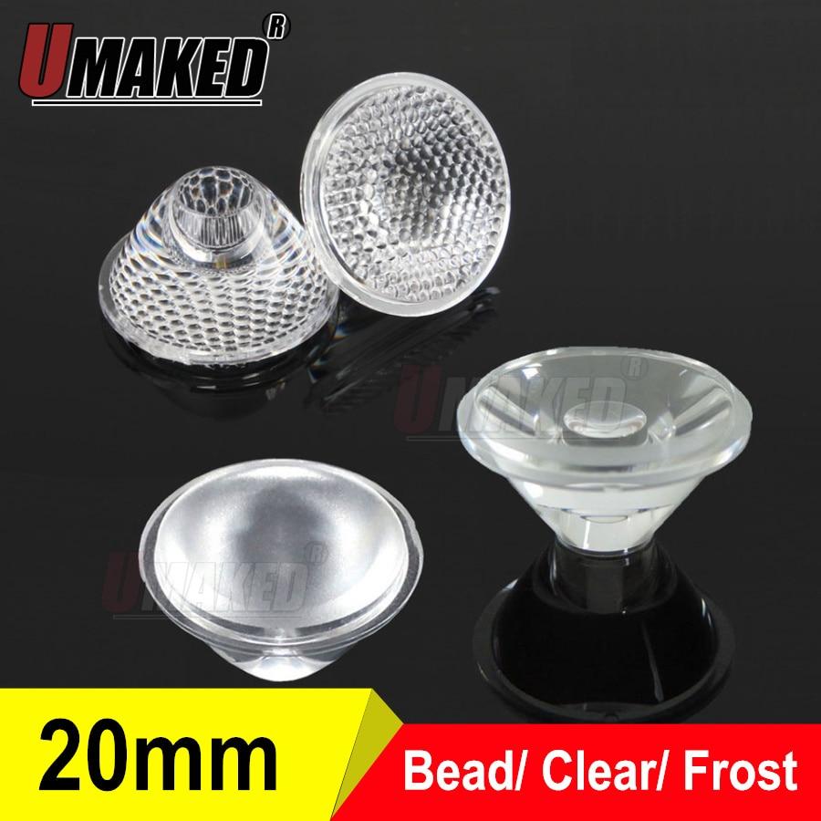 20mm 5 8 15 30 45 60 90 120 Degree PMMA Clear/frosted LED Lens For 1W 3W 5W LED Light Diodes chip, led lenses for DIY цена